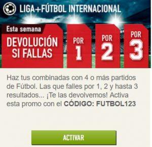 Promoción fútbol internacional Sportium