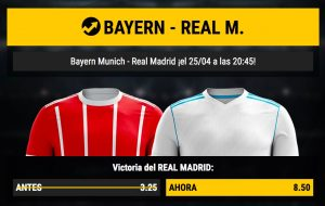 cuotas altas Bayern - Real Madrid, en Bwin