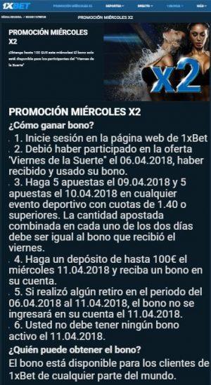 Llévate 100€ por apostar los miércoles con 1xBet