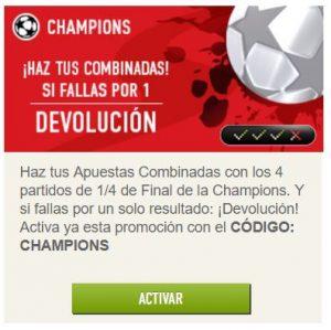 Promociones de apuestas Sportium para la Champions