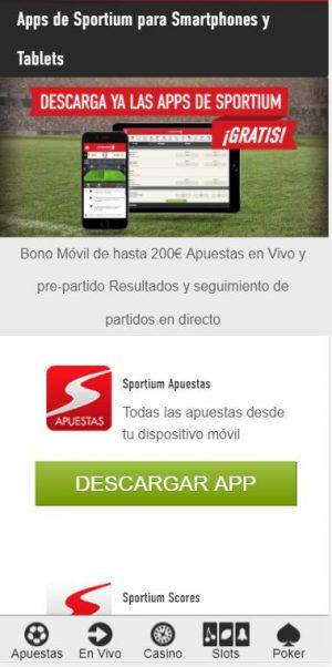app de apuestas Sportium