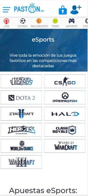 apuestas eSports en Pastón.es
