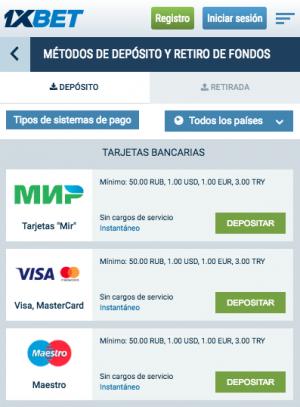 Metodos de pago en 1xbet: depositos y retiradas