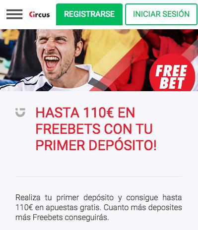 Bono Circus 110€ en apuestas gratis