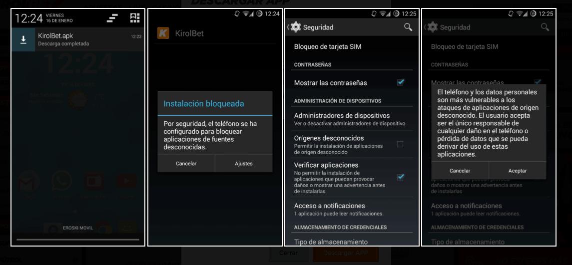 Instrucciones para instalar aplicaciones de apuestas en Android