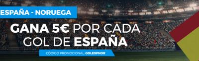 Promociones de apuestas Espana Noruega en Paston: 5 euros por gol