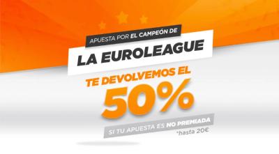Devolución del 50 por ciento de tus apuestas a la final de la Euroliga con Kirolbet