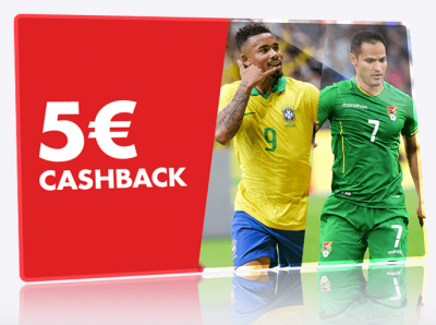 Promo Circus 5 euros cashback en apuestas al Brasil vs Bolivia de la Copa America