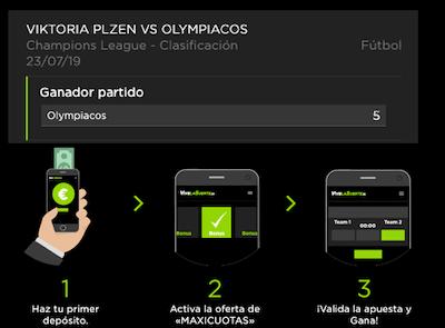 Maxicuota de VivelaSuerte en las apuestas al Viktoria Plzen vs Olympiacos