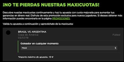 Maxicuota gol de Messi en Vivelasuerte para las apuestas del Brasil vs Argentina
