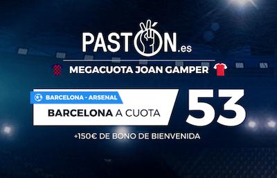 Megacuota en las cuotas de apuestas al Barcelona Arsenal en Paston