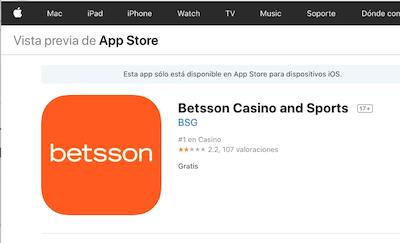 Descargar Betsson desde la app store - iPhone y iPad