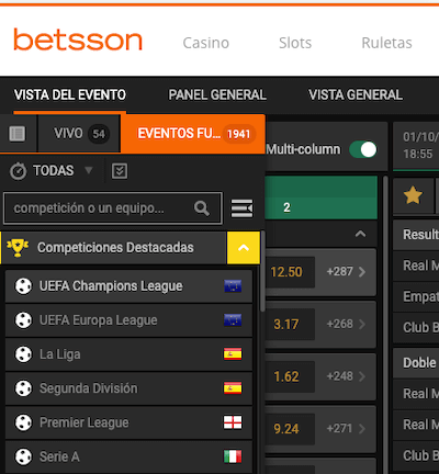 Betsson mobile, version responsive de la web