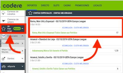 Promociones Codere - cuotas extendidas en apuestas Europa League