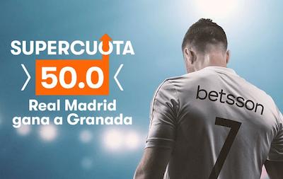 Cuotas aumentadas en Betsson al Real Madrid frente al Granada