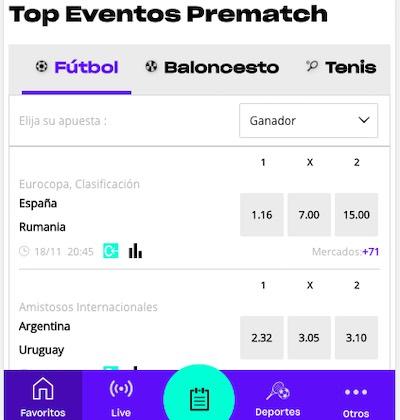 Versus app - sección de apuestas en prematch