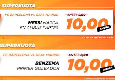 Promo en cuotas de apuestas al Barcelona vs Real Madrid en Kirolbet