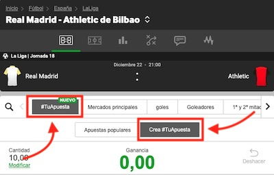 Opción de crear apuesta en Betway en el Real Madrid vs Athletic de Bilbao