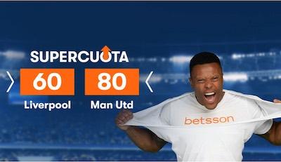 Supercuota Betsson: Cuotas extendidas en el Liverpool vs Manchester United.