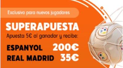 Cuotas mejoradas en las apuestas al Espanyol - Real Madrid