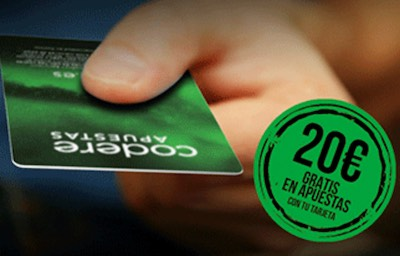 20 euros gratis con tu tarjeta Codere Apuestas