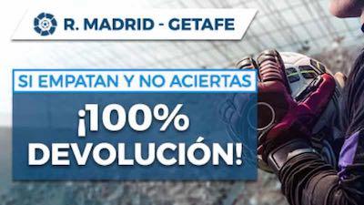 Devolución apuestas si hay empate en el Real Madrid vs Getafe | Pastón