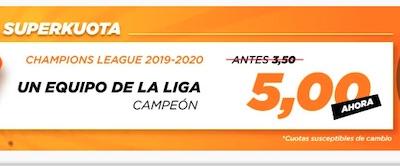 Kirolbet, Superkuota en apuestas a equipo español ganador de la Champions League 2020