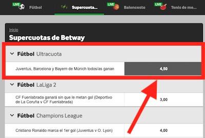 Ultracuota Betway en las apuestas de hoy en la Champions League 2020
