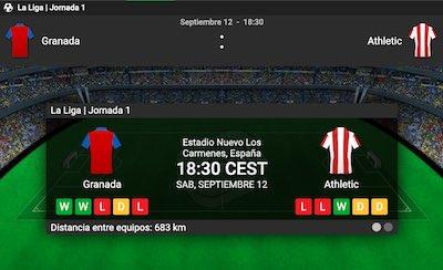 Cuotas y pronostico de las apuestas al Granada vs Athletic Bilbao en Betway