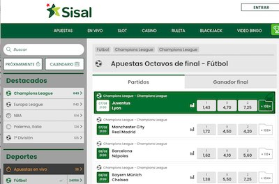 Cuotas de fútbol en Sisal Apuestas
