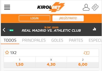 Pronostico y cuotas en Kirolbet: Real Madrid vs Athletic Bilbao