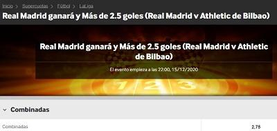 super cuotas Real Madrid - Athletic en Betway