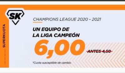 Superkuota en apuestas a ganador de la Champions 2021 equipo español