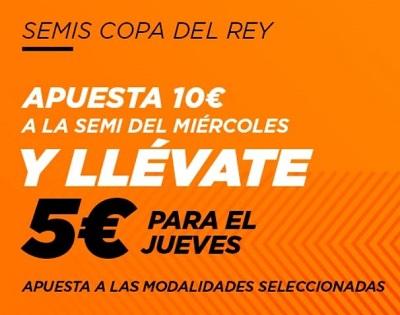 5 euros gratis con tus apuestas al Sevilla vs Barcelona de Copa del Rey