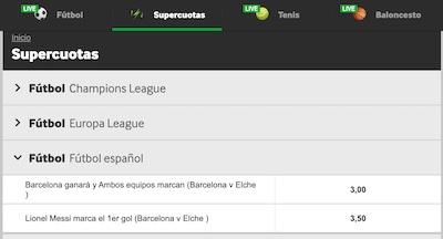 Las mejores cuotas para el Barcelona vs Elche en Betway