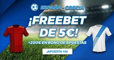 5 euros gratis con tus apuestas al España vs Grecia en Paston