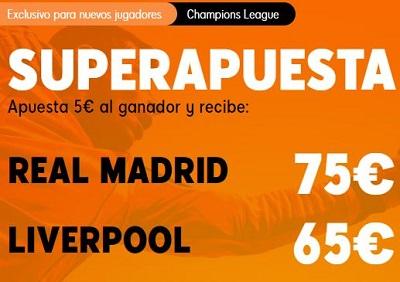 Supercuota para tus apuestas al Real Madrid vs Liverpool de Champions en 888sport