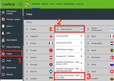 Cuotas de favoritos de la Eurocopa 2021 en Codere