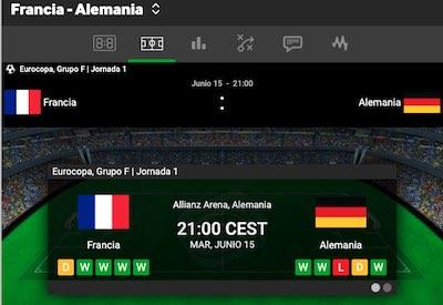 Francia vs Alemania en Betway