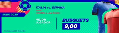 Apuestas 10 euros a Busquets MVP del Italia - España y te llevas 90
