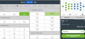 apuestas al Villarreal vs Betis en Codere