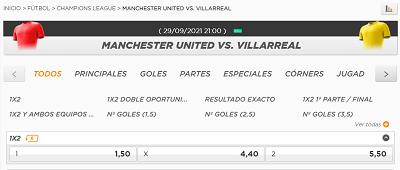 Cuotas y pronostico de apuestas para el Manchester United vs Villarreal de Champions